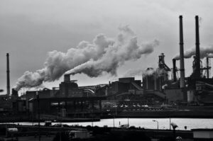 Picture of a Manufacturing Factory in Black and White